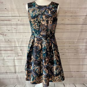 Liz Claiborne Career Floral Print Dress Gold 4